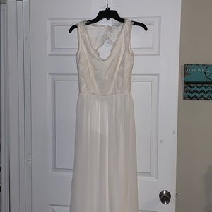 NWT lace top off white maxi dress